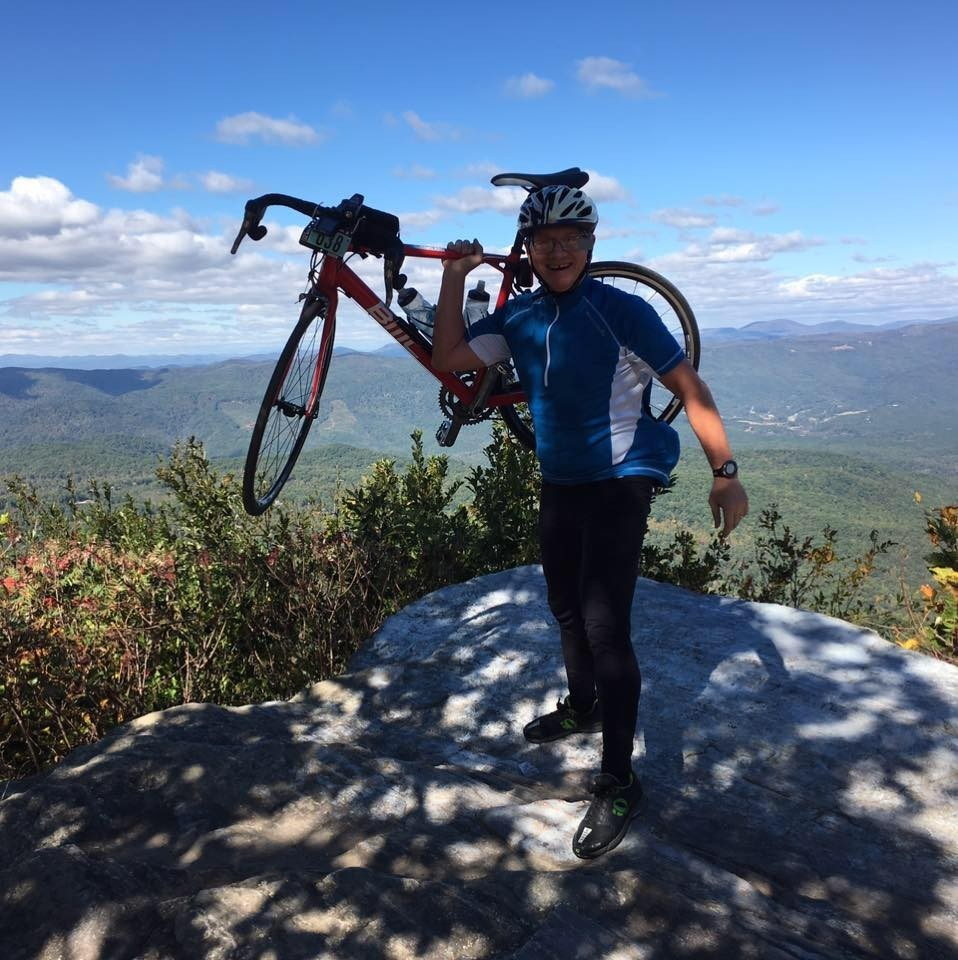 At the top of Skyuka mountain, the first climb in the 2016 Hincapie Gran Fondo in Greenville, SC