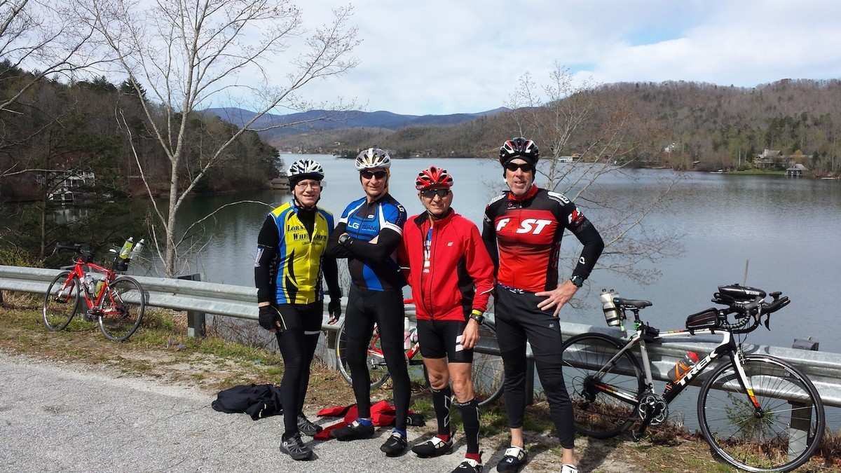 2017 HFP triathlon camp in Helen, Georgia.  Rides included  3-Gap, 6-Gap, Brasstown Bald, Lake Burton/Hiawassee, etc.  Left to right: Barron, Joe, Tim, and David.