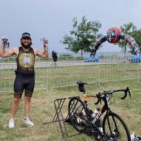 My bike and I after Vermilion Harbor Olympic Distance. Finished 3rd in my age group!